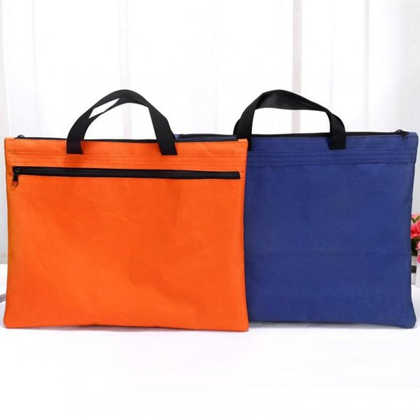 Hand-held Zipper Oxford Cloth A4 Double Deck File Bag Cross Section Of Flat Tablet Computer Briefcase Wholesale #30549