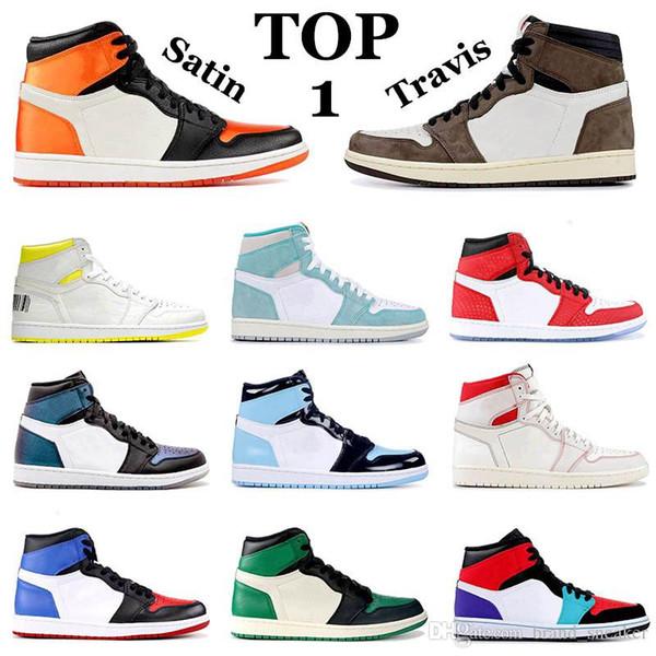 Top 1s Satin Shattered Backboard Women Travis Scott Paris Men Mens Basketball Shoes UNC Golden Phantom Banned Brand 1 Mens Trainers Sneakers