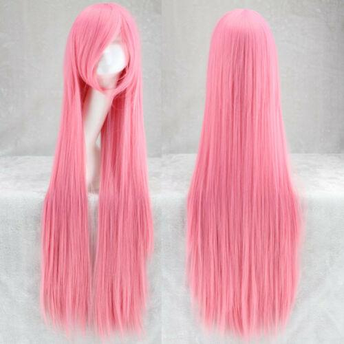 Select color and style Women Fashion 100cm Long Synthetic Anime Cosplay Party Straight Hair Full Wig
