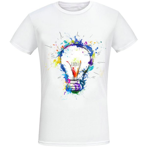 Bulb t shirt Colored drawing short sleeve gown Nice lamp tees Casual fadeless printing clothing Pure color colorfast modal Tshirt