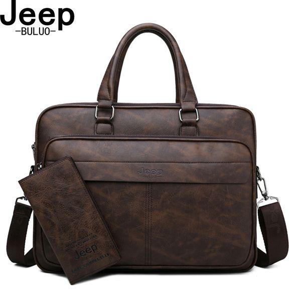 BULUO Famous Brand High Quality Business Leather Shoulder Messenger Bags Men's Briefcase Bag Travel Handbag 14 inch Laptop