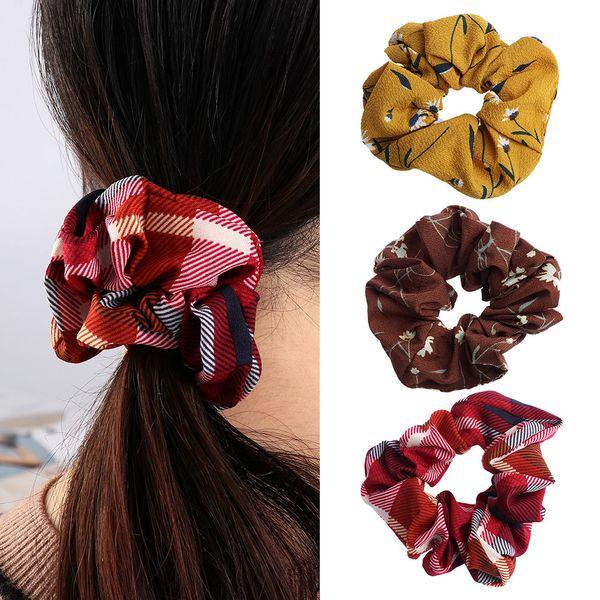 Chicas Imprimir elástico cuerdas de pelo Mujeres Dulce lazo del pelo del sostenedor del Ponytail de Scrunchie Bandas Cuerdas Accesorios de moda Lady