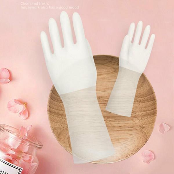 1pair cuisine Gants de lavage long imperméable en caoutchouc antidérapage Gants en PVC Gants de nettoyage vaisselle