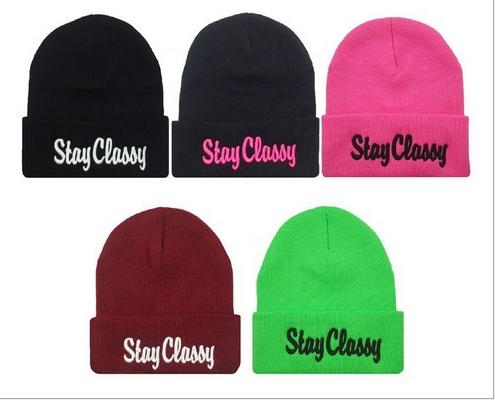 Designer STAY CLASSY Letters Embroidery Beanies Hats Hip Hop Word Winter Hat For Adults Mens Womens Head Ear Warmer Acrylic Knitted Snow Cap