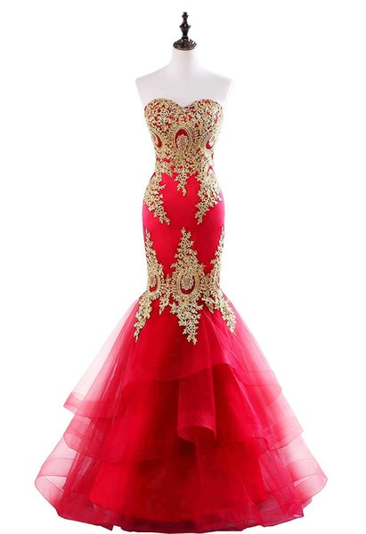 In Stock Mermaid Evening Dresses Sweetheart Neck Tulle with Gold Appliques Lace-up Back Prom Gowns Vestidos