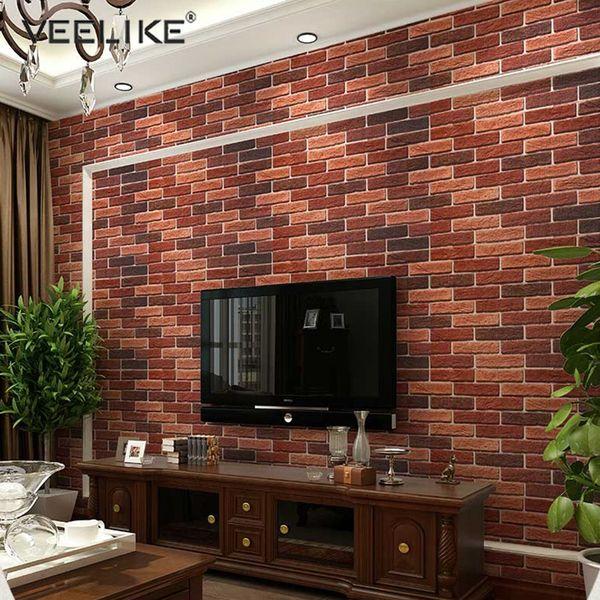Padrão 3M / 5M PVC impermeável Films tijolo Fundo de pedra Self Adhesive Wallpaper Rolls Vintage Sala TV Home Decor