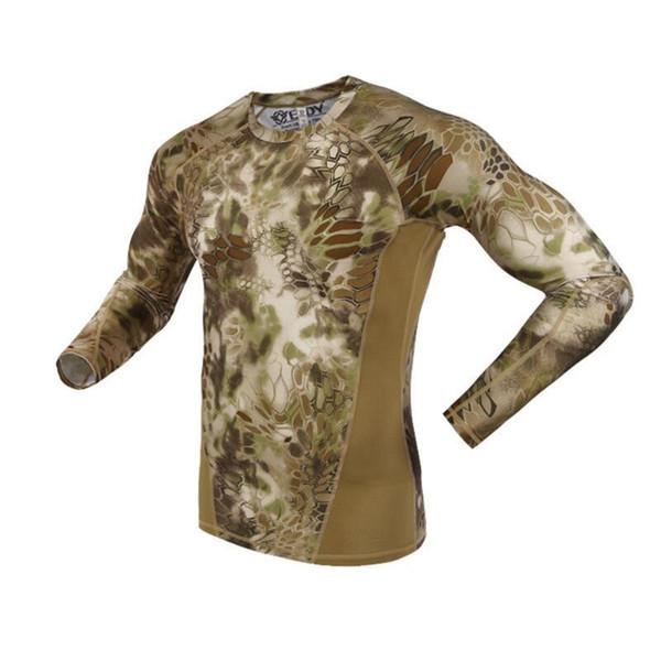 Verão de Manga Longa Camuflagem Militar T-shirt Dos Homens Tático Do Exército Combate T Camisa Quick Dry Camo Caça Roupas Casuais O-pescoço Tshir Y190507