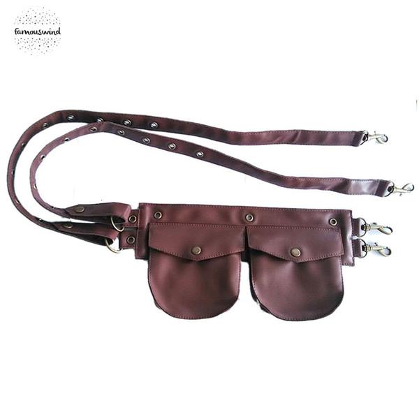 Corsé del Faux de Brown cuero de los hombres bolsas pequeñas mujeres de la correa de la cintura bolsillo gótico Steampunk Ropa Burlesque accesorios del traje