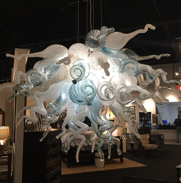 top popular Modern Hand Made Blown Glass Chandelier Lights for Home Free Shipping LED Bulbs White and Blue Murano Glass Pendant Lighting Lamp 2021