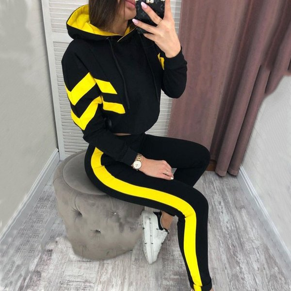 New Spring Autumn Tracksuit 2019 Long Sleeve Crop Top Hoodie+Skinny Long Pants Set Casual Sweat Suits Women Two Piece Outfits Free Shipping