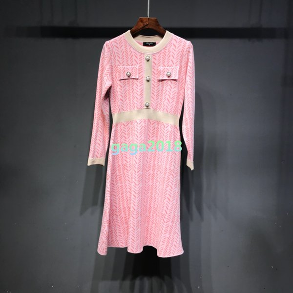 Women grils Knitted jacquard dress sweater slim long coat Lady Viscose Outerwear Coats dress round neck suit stylish wrap coat dress Highend