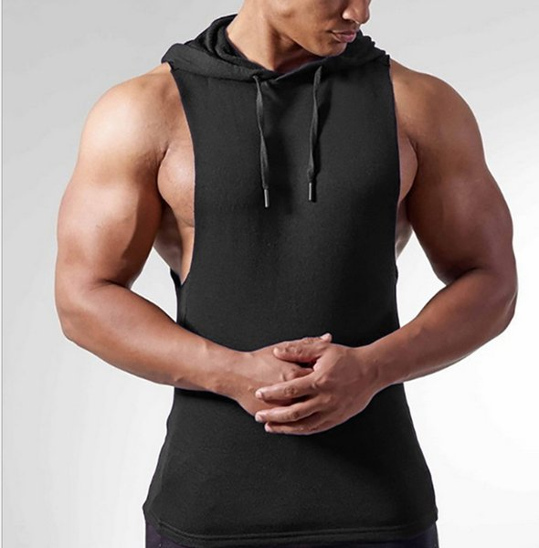 top popular 2019 new fashion Men's Fitness Exercise Pure Cotton Sleeveless Garment pure color gym hoodies gym vest 2019