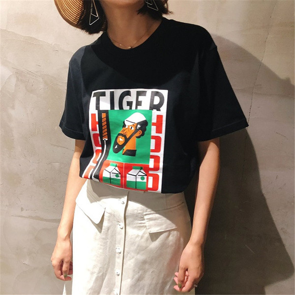 Fashion Designer Letter Printed Tops Summer Funny Female Crew Neck Tshirt Casual Couple Short Sleeve Loose Clothes