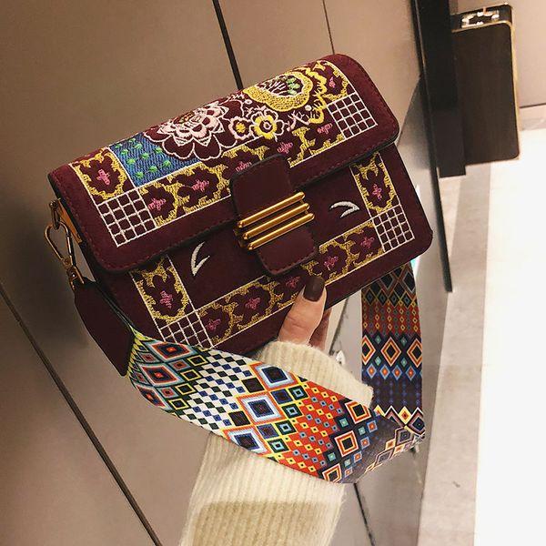 Nuevo bordado de moda para mujer Womer cuero bolso hombro bandolera bolsas de mensajero Mini Lock Stud pirámide correa bolsas zhishang / 11