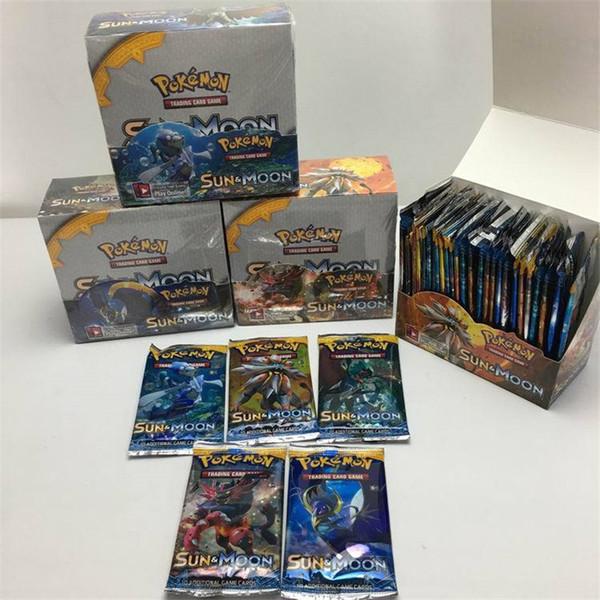 Çocuk Çocuk Anime Çizgi Parti Masa Oyunları Oyuncaklar için Güneş ve Ay Kaplı Kağıt 324pcs / set Ticaret Kartlar Modeli Bulmacalar Kart