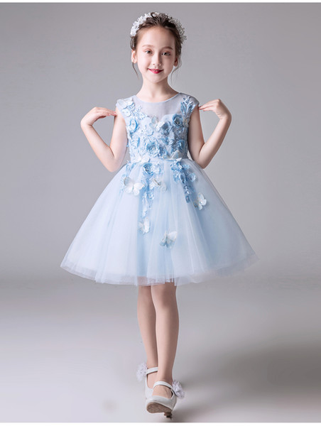 Bebek Kız Vaftiz Elbise Açık Mavi Tül Aplikler Küçük Kızlar için Vaftiz Elbisesi Bebek Kız Parti Elbiseler 1 Yıl Doğum Günü