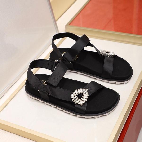 2019 Hot Sale Women Beach Style Shoes Luxury Designer Casual Sports Sandals With Box Dust Bag Fashion Diamonds Summer Flats EU Size 35-39