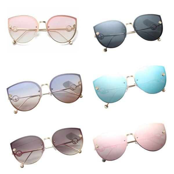 2019 Art und Weise Neue Frauen Trendy große quadratische Metallkatzenaugen-Sonnenbrille im Freien Fahren Brillen Multicolor-Schutz-Brille 6 Styles