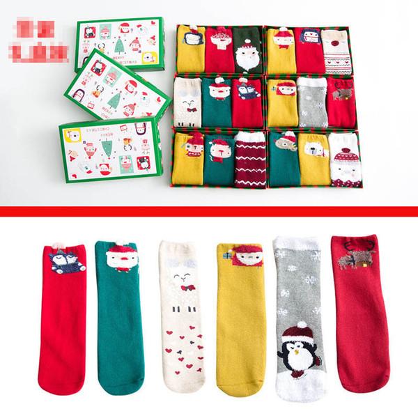 Новые 3pairs / комплект Рождество Детские носки Cartoon Детские носки Мальчики Носки девушки Knit колено высокие носки хлопка детей носки 1-10y A9658