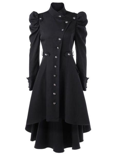 Jacket mulheres Steampunk gótico Casacos de inverno manga comprida com chapéu Brasão Cosplay Preto Medieval Noble Court Princesa Outwear