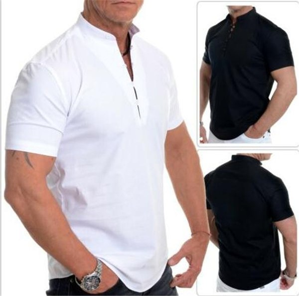 Solid Color Designer Mens Shirts Short Sleeve Mandarin Collar Mens Tops With Buttons Summer Casual Mens Clothing