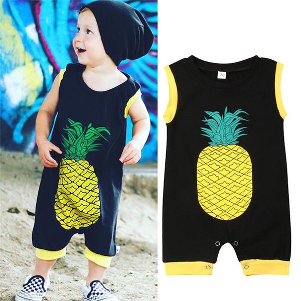 Pineapple Baby Boy Toddler Onesies di cotone Tuta Pagliaccetto Abiti senza maniche Unisex Black Baby Sunsuit Abbigliamento estivo 0-24M