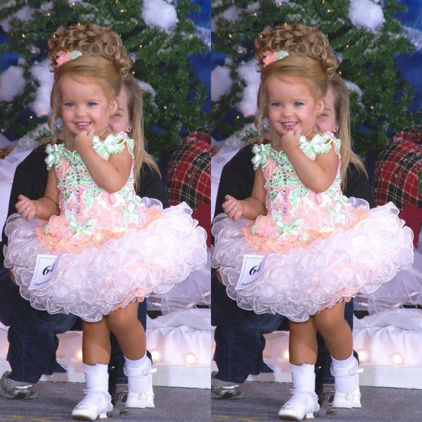 Baby Miss America Girl's Pageant Dresses Custom Made Organza Party Cupcake Flower Girl Pretty Dress For Little Kid