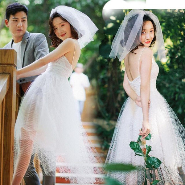 Modest Bohemian Tea Length Wedding Dress Hippies Spaghetti straps backless cheap bridal gowns from china net vintage Garden Beach wedding
