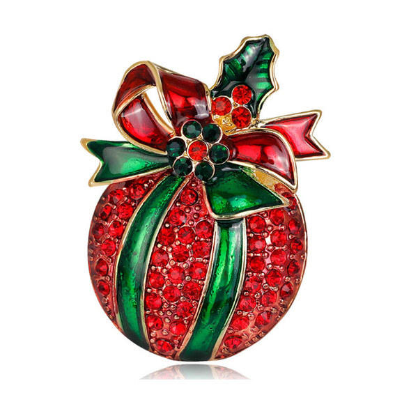 50pcs/lot Red Crystal Christmas Ball Brooch Rhinestone Apple Brooch Pin Christmas Decoration