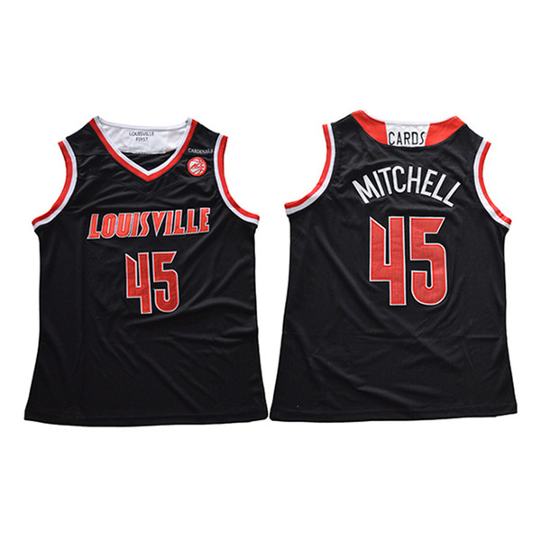 Mens Donovan Mitchell Jersey Collection Louisville Cardinals College Basketball Jerseys High Quality Stitched Name&Number Size S-2XL
