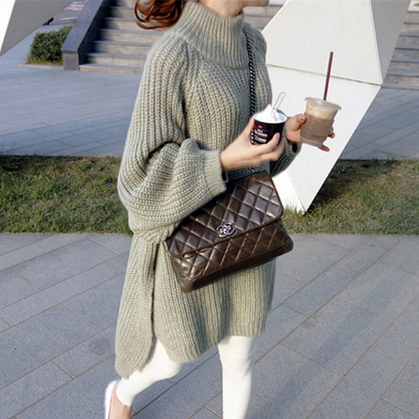 Autumn Winter Thick Long Sweater Women Lantern Sleeve Side Slit Half Turtleneck Sweaters Pullovers Oversized pull hiver femme Y190923