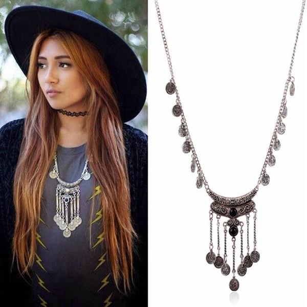 Bohemia Vintage Joya Moneda Collar Colgante Étnico Cadena Suéter de Metal de Múltiples Capas Collar de La Borla Para Las Mujeres Joyería de Moda