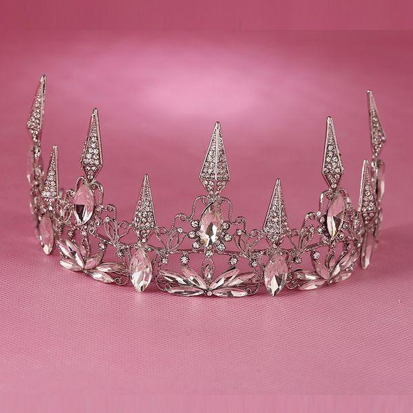 Hot European Designs Large Vintage Queen Crown Retro Rhinestone Tiara Head Jewelry Wedding Bride Crystal Pageant Tiaras Crowns C18112001