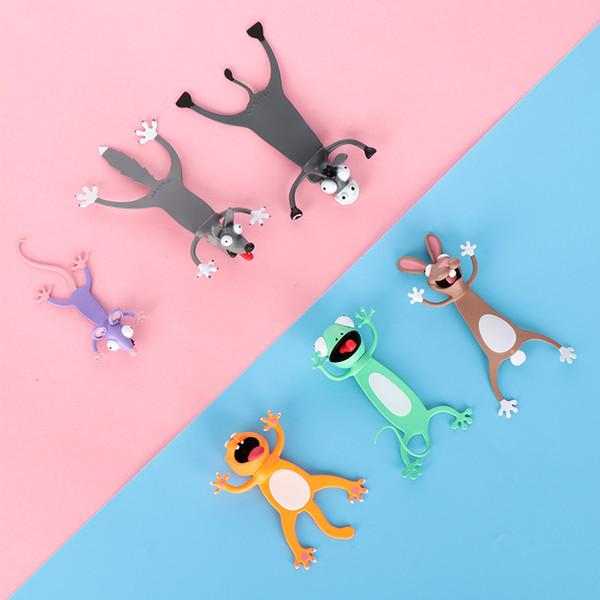 Estéreo 3D de dibujos animados de animales marcador Marcadores original linda del PVC del gato Material de papelería Escuela Estudiante divertido regalo de los niños Marca