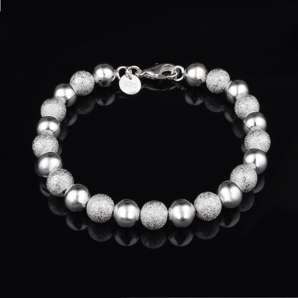 Simple smooth Frosted Beads Bracelet Bangles For Women Silver Plated Cuff Jewelry Gift Dropshipping