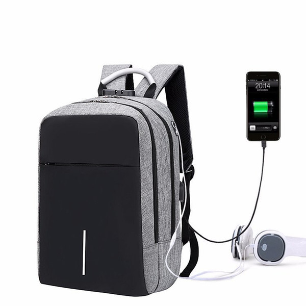 Large capacity laptop bag unisex computer backpack USB charging travel backpack business With safety12 13 14 15 17 inch