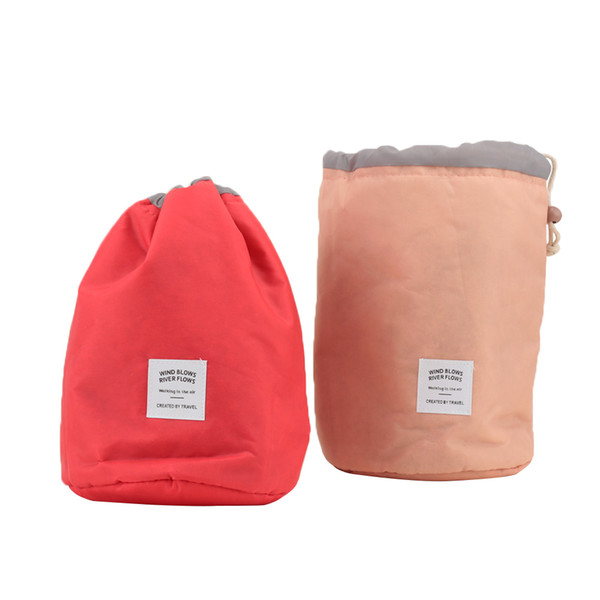 Cosmetic Bag Ship Drawstring Barrel Shaped Nylon Drum Women High Quality Makeup Organizer Storage Bags Travel Toiletry Kit