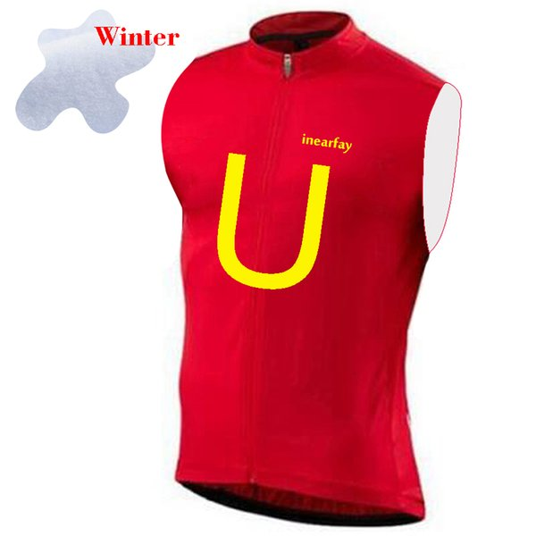 Chaleco ciclismo termal del invierno del chaleco sin mangas de ciclo Ciclo Escudo cálida lana Fietsen Jersey Rojo Blanco