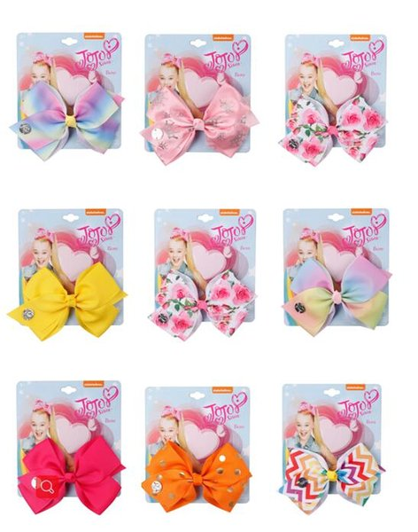 5'' JoJo Bows Rainbow Unicorn Printed Hair Bows Grosgrain Ribbon Hairpins Handmade Bowknot Girls Princess Party Hair Accessories 10pcs