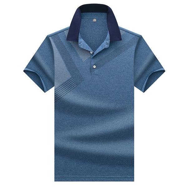 Alta calidad Topstees hombres hombres de negocios marcas camisas 3d bordado da vuelta abajo para hombre camisa de Polo 8307 C19041501