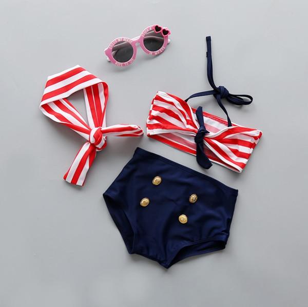 3pcs ensemble mignon bébé filles bikini costume enfants plage vêtements été maillots de bain avec grand arc et bandeau enfants costume