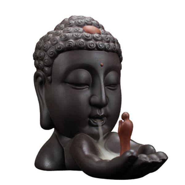 Backflow Encens Brûleur Créatif Décoration de La Maison En Céramique Bouddha Porte-Encens Bouddhiste Encensoir Utilisation dans Salon Salon