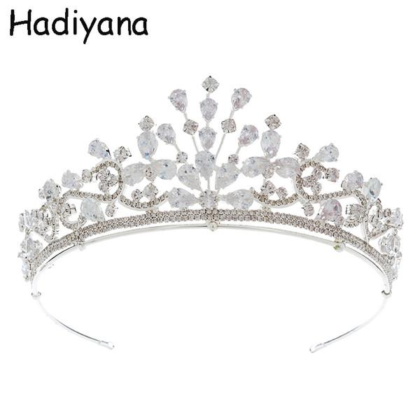 Venta al por mayor Moda Novia Tiaras Y Corona Diseñador de la marca Princesa Corona de lujo Cubic Zirconia Fairy Gold Crown Wedding Prom HG6098