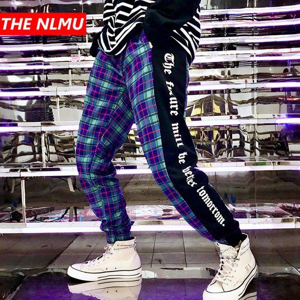Mens Plaid Harem Pants Joggers Sweatpant 2019 Spring Men Hip Hop Casual Track Pants Male Fashion Streetwear White Trousers WG125