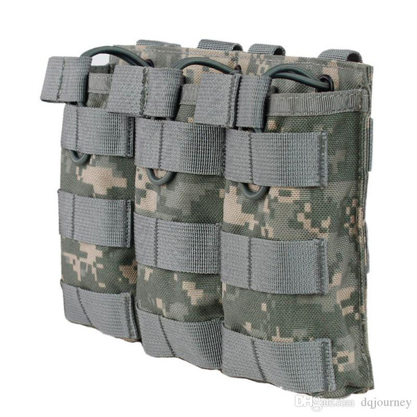 1000D Nylon Tactical Army Pouch for Paintball Airsoft Open-Top Magazine MOLLE Triple Pouch FAST AK AR M4 FAMAS Mag
