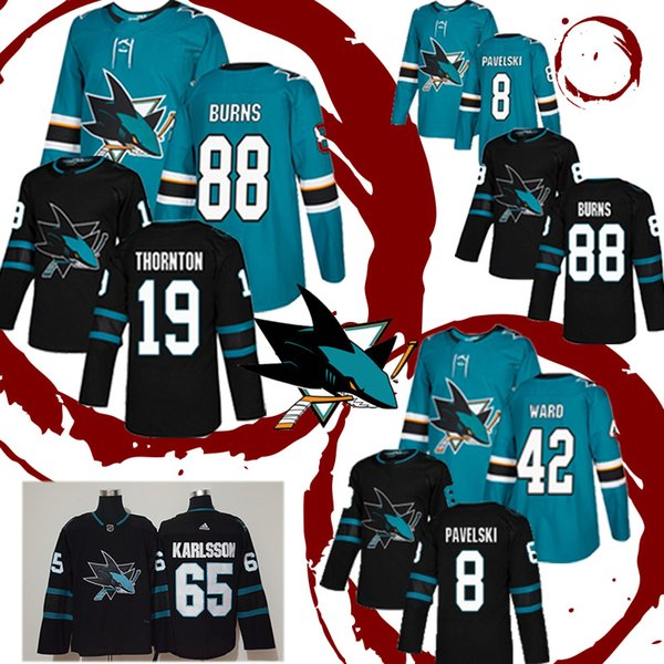 Сан Хосе Шаркс Хоккейная Майка 8 Джо Павельски 88 Брент Бернс 19 Джо Торнтон 42 Джоэл Уорд Майки
