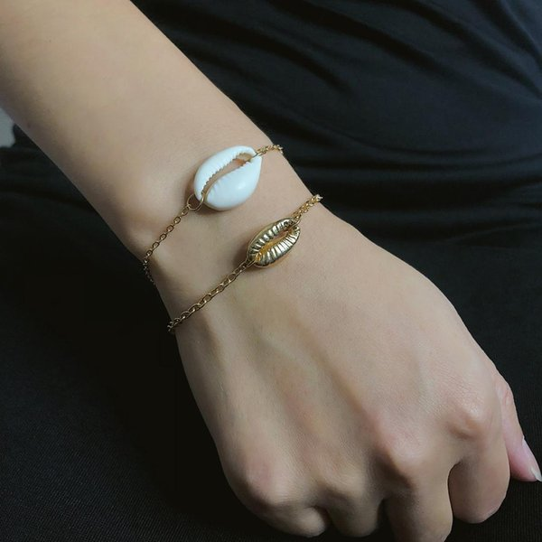 Bohemian Simple Shell Chain Gold Bangles for Women Fashion Summer Beach Party Bracelet Creative Punk Jewelry Accesorios Mujer