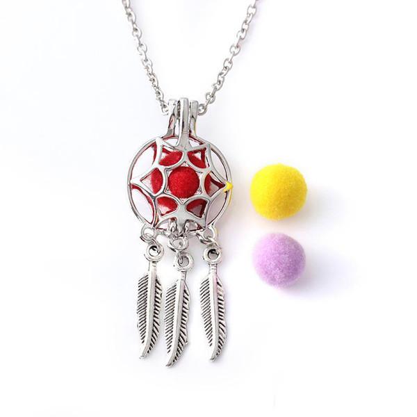 Color de los collares de plata elegante de aromaterapia aceites esenciales difusor Locket del perfume del collar de la borla de la hoja