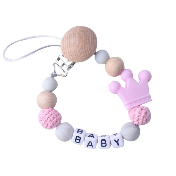 2019 Baby Care Cartoon Crown Natural Wood Silicone Universal Holder Belt Pacifier Nipple Clip Chain Child Pacifier Bead Chain
