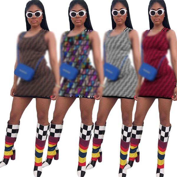 dsigner женщина повседневные платья без рукавов летом мини-юбка F Письмо печати выше колена bodycon платье женщины one piece платье вечер clubwearC431